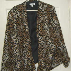 Animal Print Open Front Jacket
